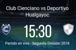 Cienciano vs Hualgayoc en VIVO Segunda División 2018 este Miércoles 29 Agosto 2018