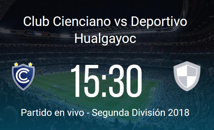 Cienciano vs Hualgayoc en VIVO Segunda División 2018
