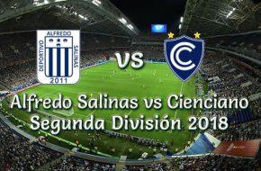 Resultado Final Alfredo Salinas vs Cienciano 0-5 Goles del Partido Segunda División 2018