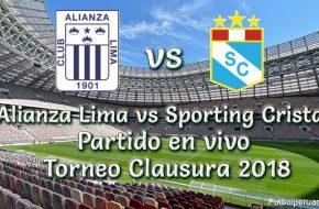 Partido Alianza Lima vs Sporting Cristal en VIVO Online Torneo Clausura 2018 este Domingo 16 Setiembre 2018