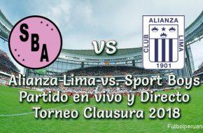 Alianza Lima vs. Sport Boys en vivo Torneo Clausura 2018