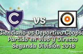 Cienciano vs Deportivo Coopsol en VIVO Segunda División 2018