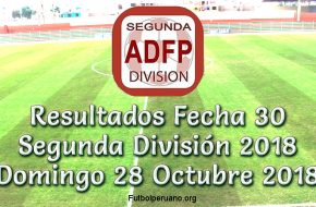 Resultados y Tabla de Posiciones en VIVO: Fecha 30 de la Segunda Perú – Domingo 28 Octubre 2018