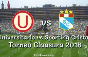 Universitario vs Sporting Cristal en VIVO Torneo Clausura 2018