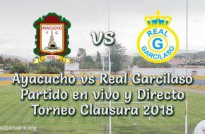 Ayacucho vs Real Garcilaso en vivo y directo Torneo Clausura 2018
