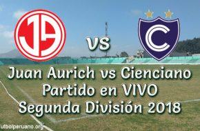 Juan Aurich vs Cienciano en VIVO Segunda División 2018