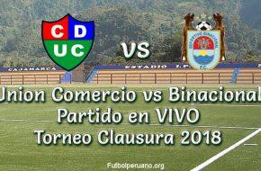 Union Comercio vs Binacional en VIVO Torneo Clausura 2018