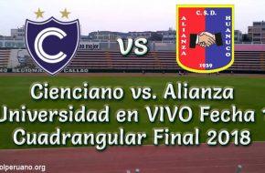 Cienciano vs. Alianza Universidad en VIVO Fecha 1 Cuadrangular Final 2018