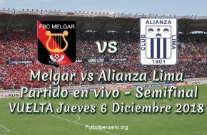 Melgar vs Alianza Lima en vivo y directo Semifinal Playoffs Jueves 6 Diciembre 2018
